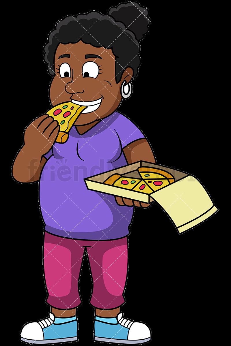 Eating Fat Black Woman Pizza Vector Cartoon Clipart Png.