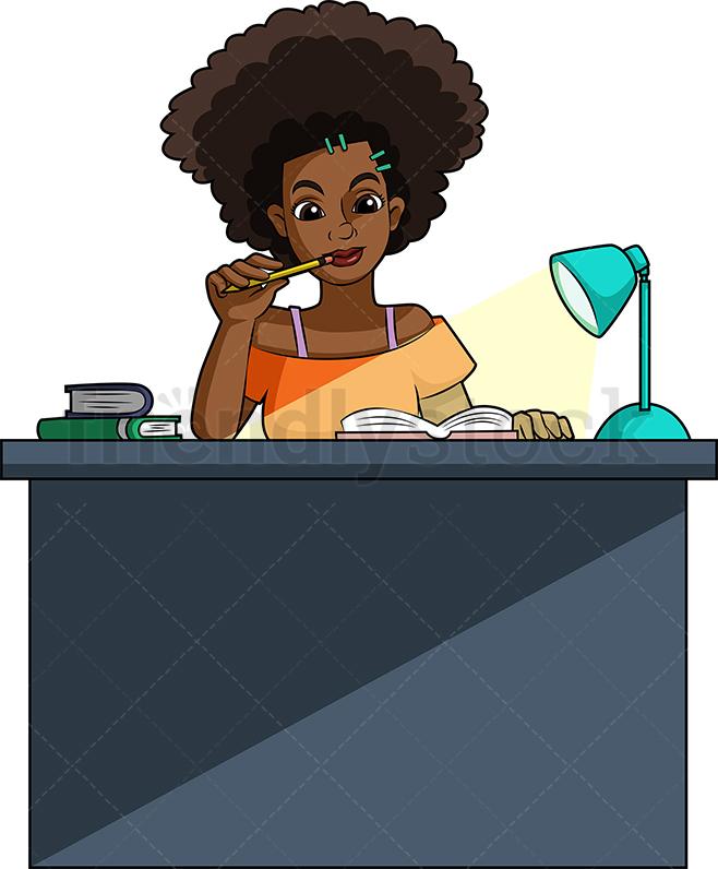 Black Woman Studying.
