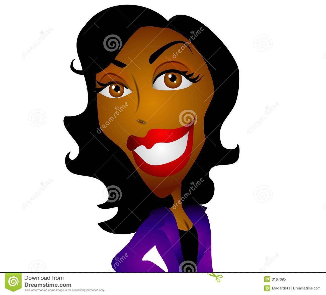 Happy Cartoon Black Woman stock illustration. Illustration of.