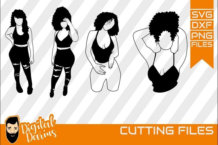 4x Black Woman Bundle SVG, Afro Girl svg, Sexy Diva SVG.