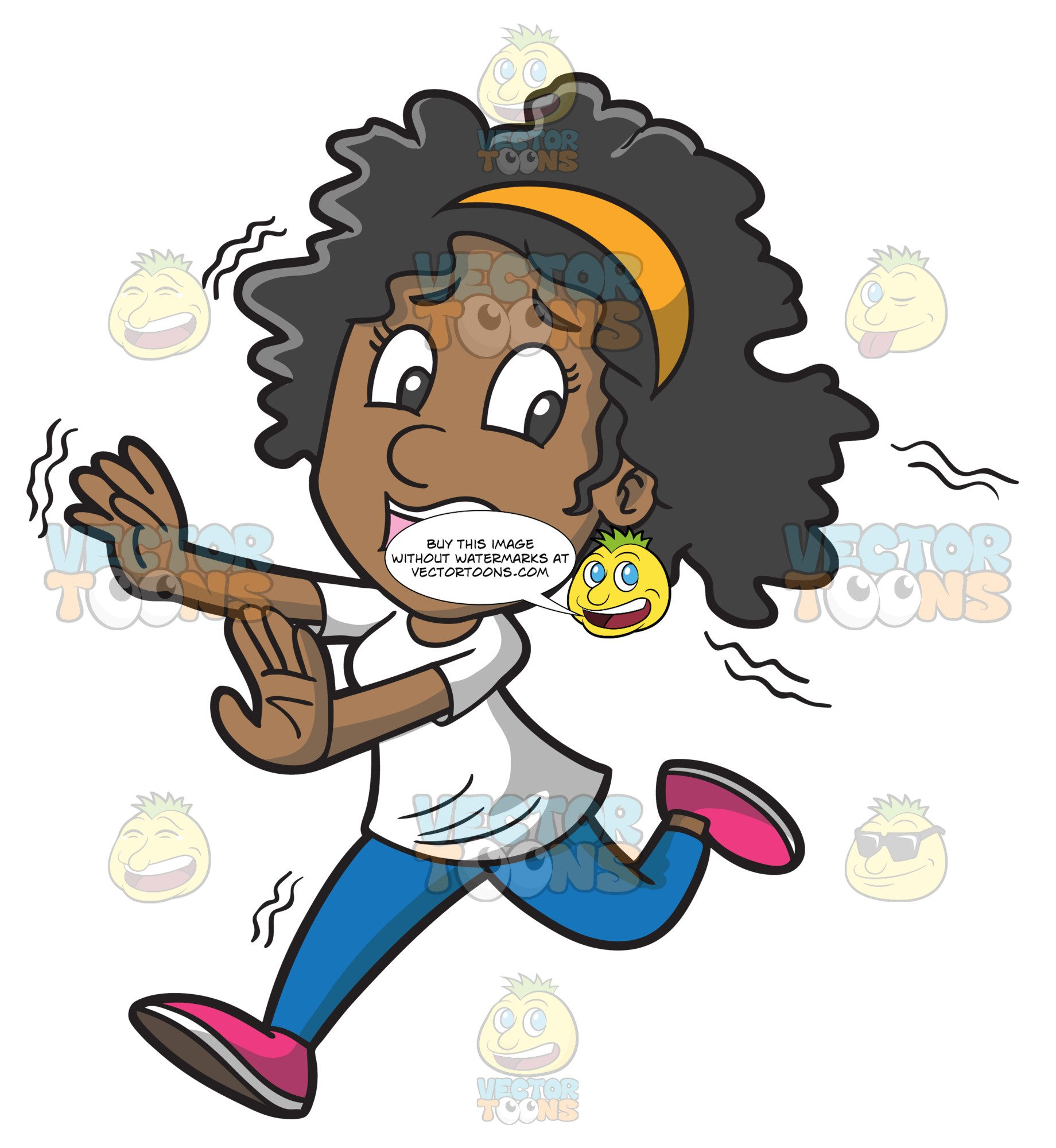 A Fearful Black Woman Running Away From Something.
