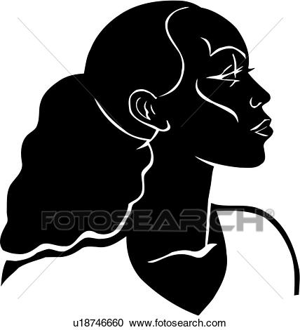 , african, american, black, woman, face, head, poses, Clipart.