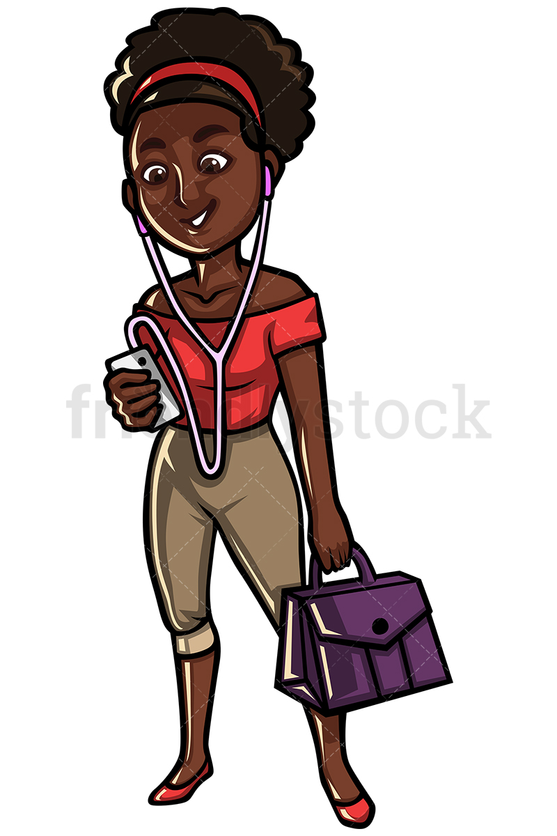 Black Woman Listening To Music On Her Mobile Phone.