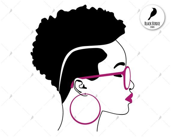 Black woman svg, black woman clipart, earrings svg frame, shades svg.