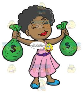 A Black Woman Happily Enjoys Holding The Bags Of Money.