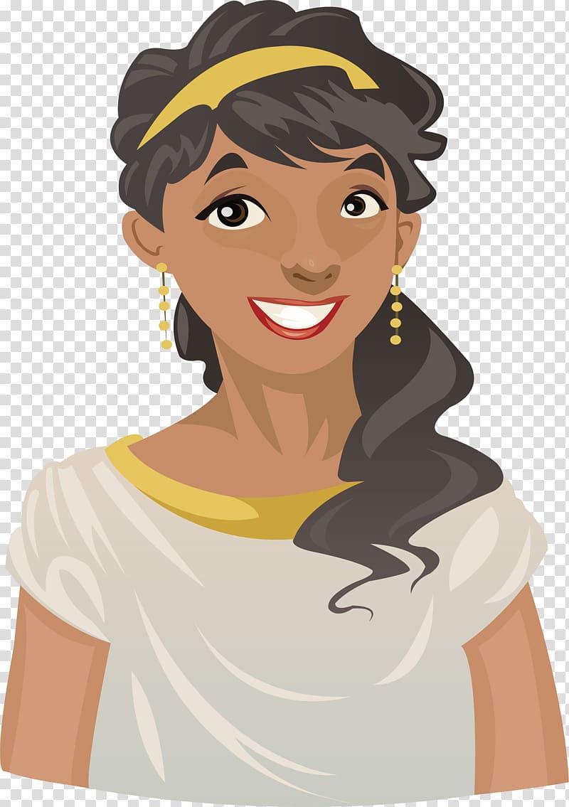 Hera Cartoon Greek mythology Illustration, Beautiful black woman.