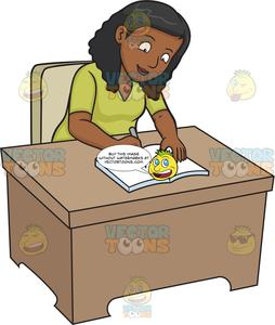 A Black Woman Writing On Her Journal.