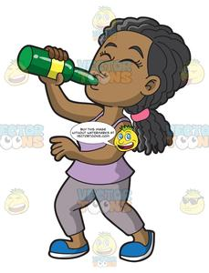 A Black Woman Chugging A Bottle Of Wine.
