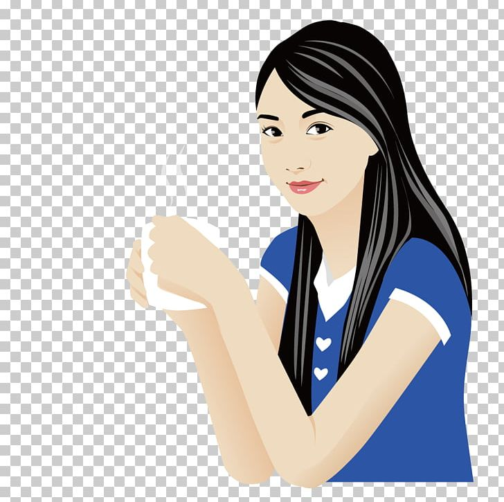 Coffee Drinking Water Cartoon Illustration PNG, Clipart.