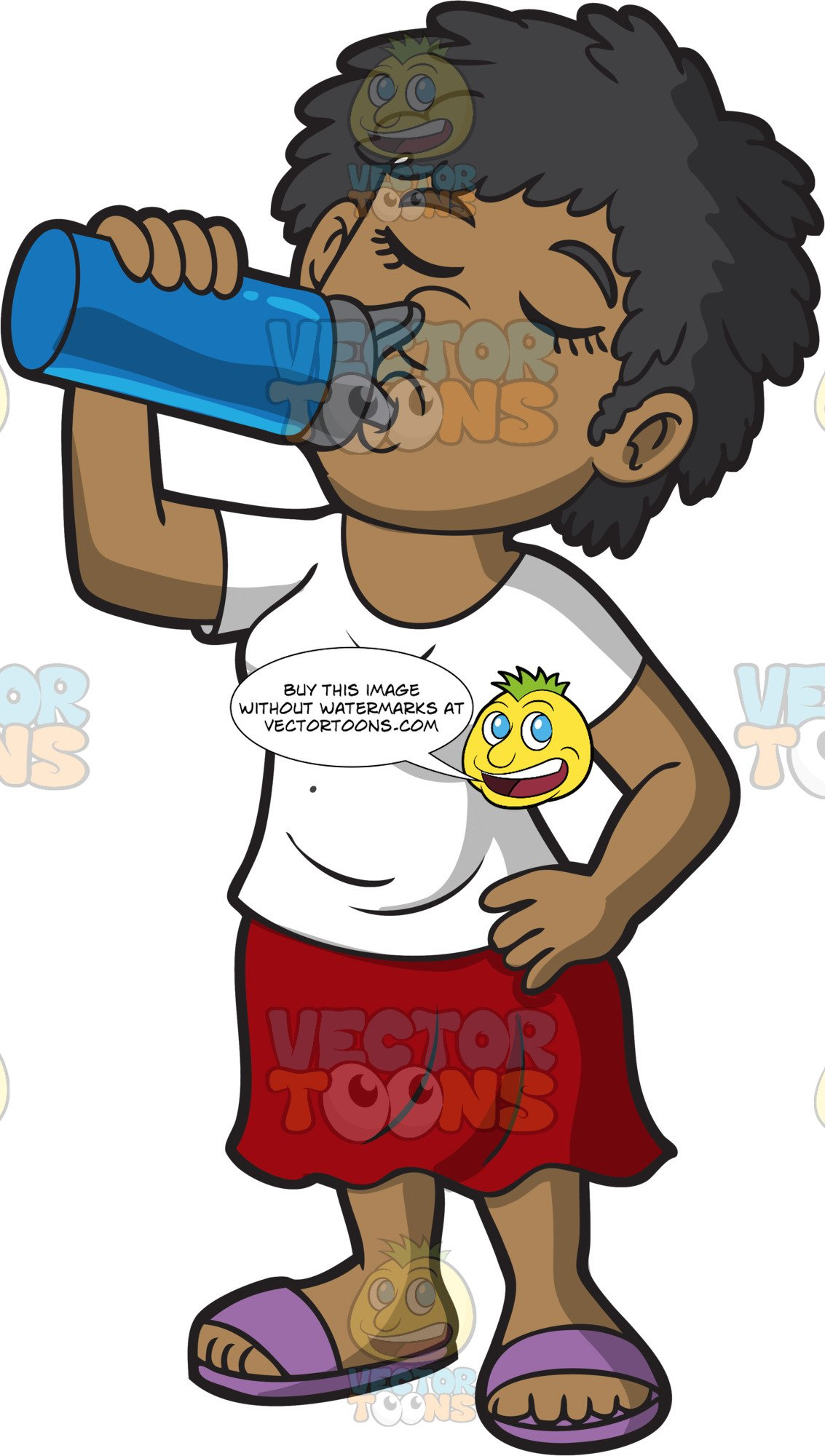 A Woman Drinking Water From A Water Bottle.