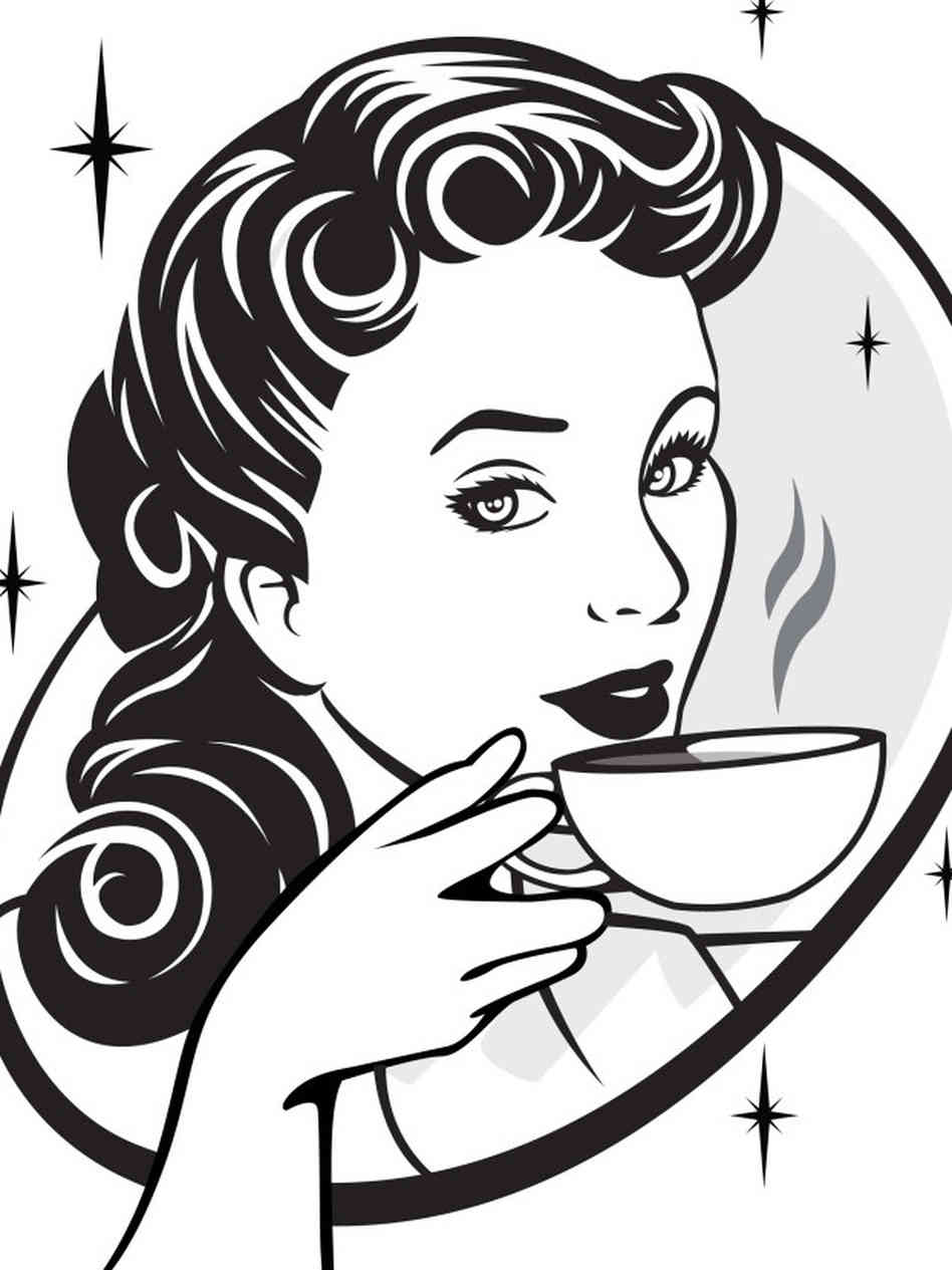 Lady Drinking Coffee Clipart.