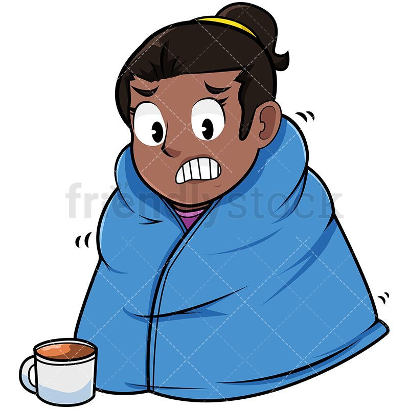 Cold Black Woman Wearing Warm Blanket in 2019.