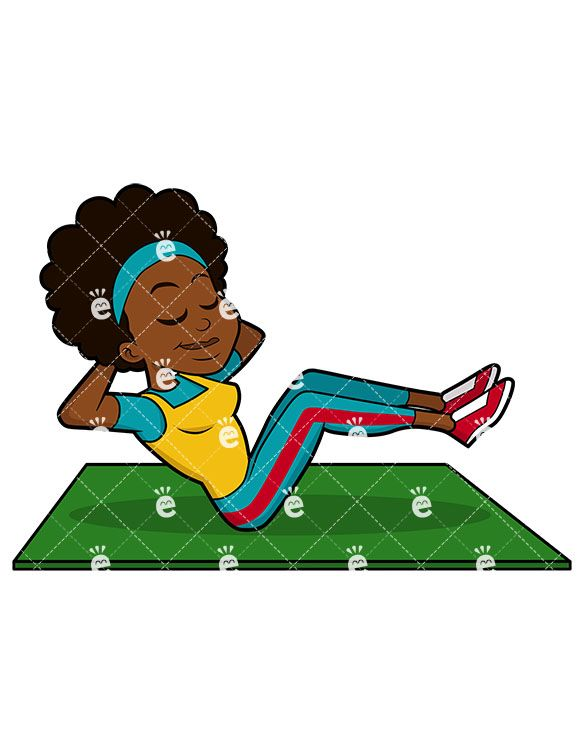 A Black Female Exercising Her Abs.