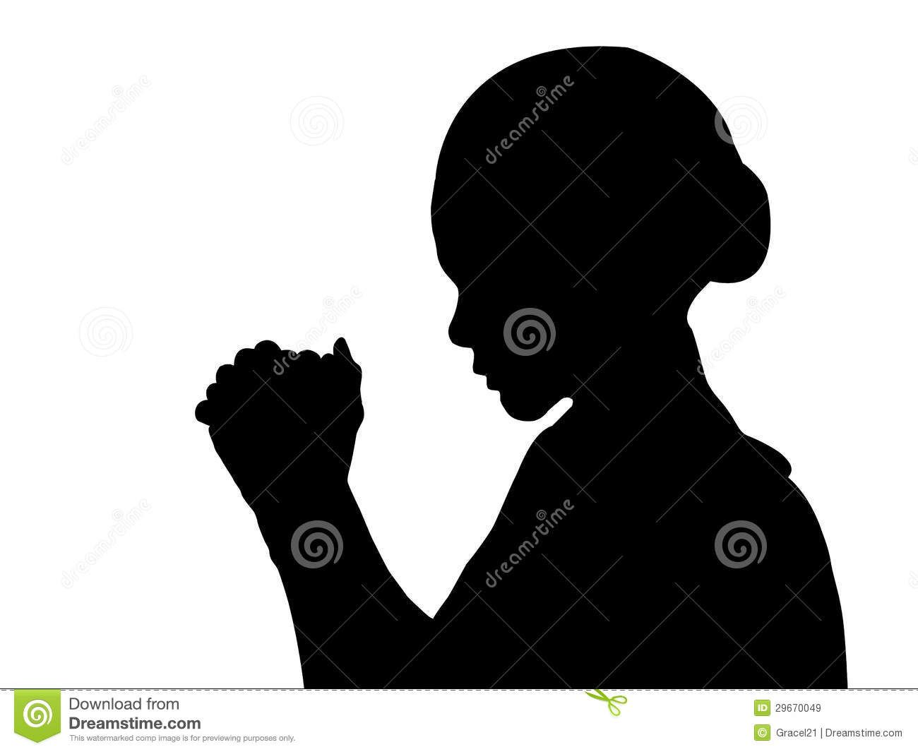 silhouettes of females in prayer.
