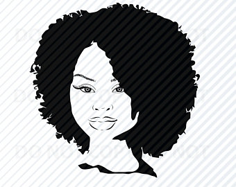 African American Woman SVG Black Woman Afro Silhouette Clip.