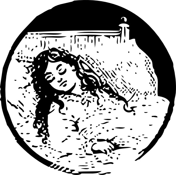 Sleeping Girl clip art Free vector in Open office drawing.