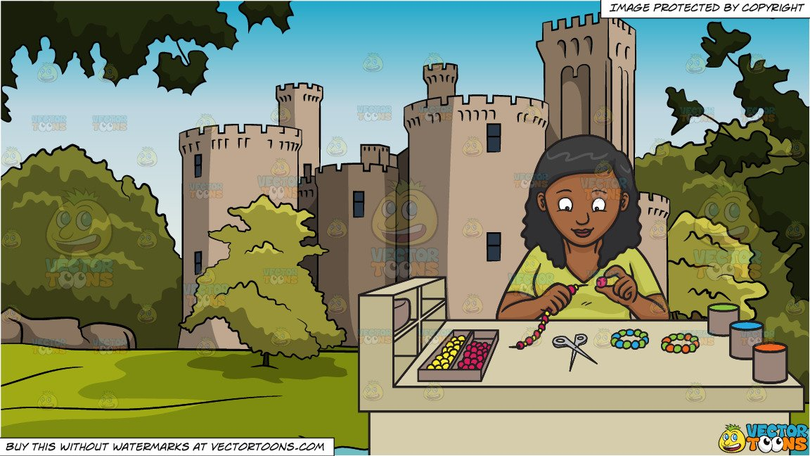 A Black Woman Making Beaded Bracelets and High Wall Castle Background.