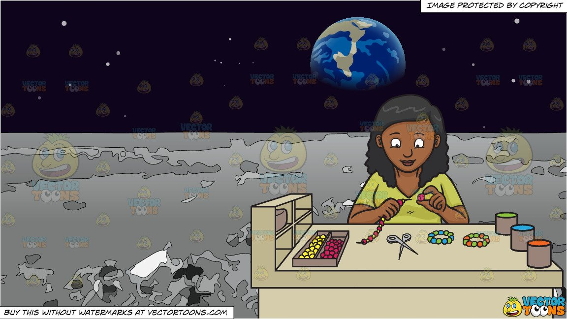 A Black Woman Making Beaded Bracelets and The Surface Of The Moon With  Earth In The Background.