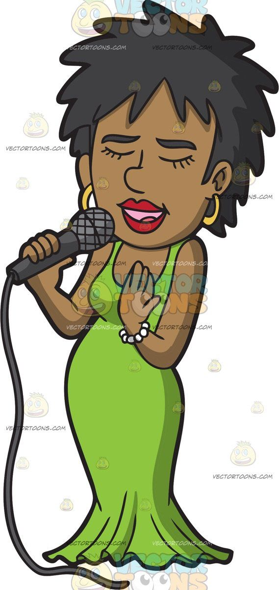 A Black Woman Singing Her Favorite Song : A black woman with.