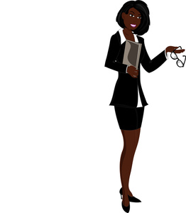 Female boss at work cartoon clipart.