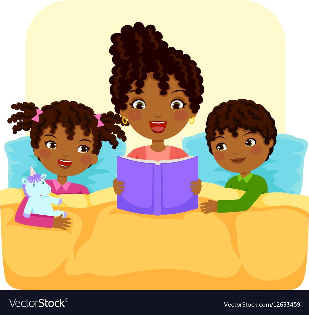Black family reading story.