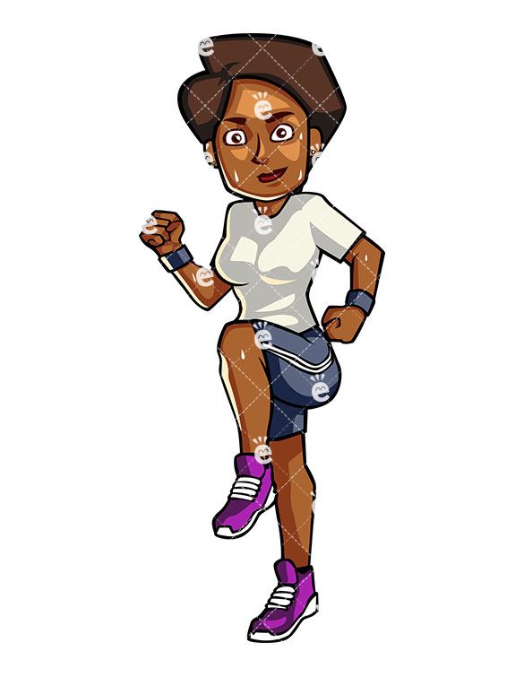 A Black Woman Running In Place.
