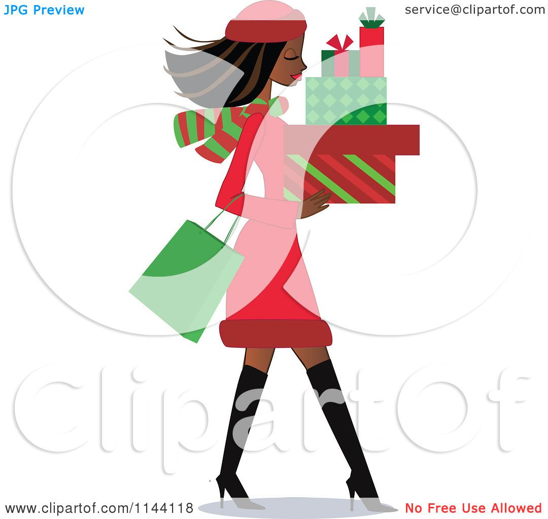 Cartoon of a Shopping Black Christmas Woman Carrying Gift Boxes.