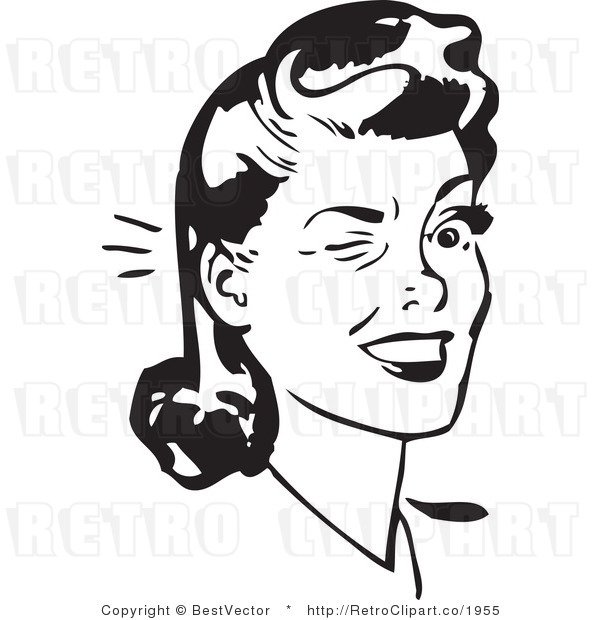 Wink Clipart Black And White.