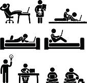 Clip Art of Work From Home Office Freedom k11398358.