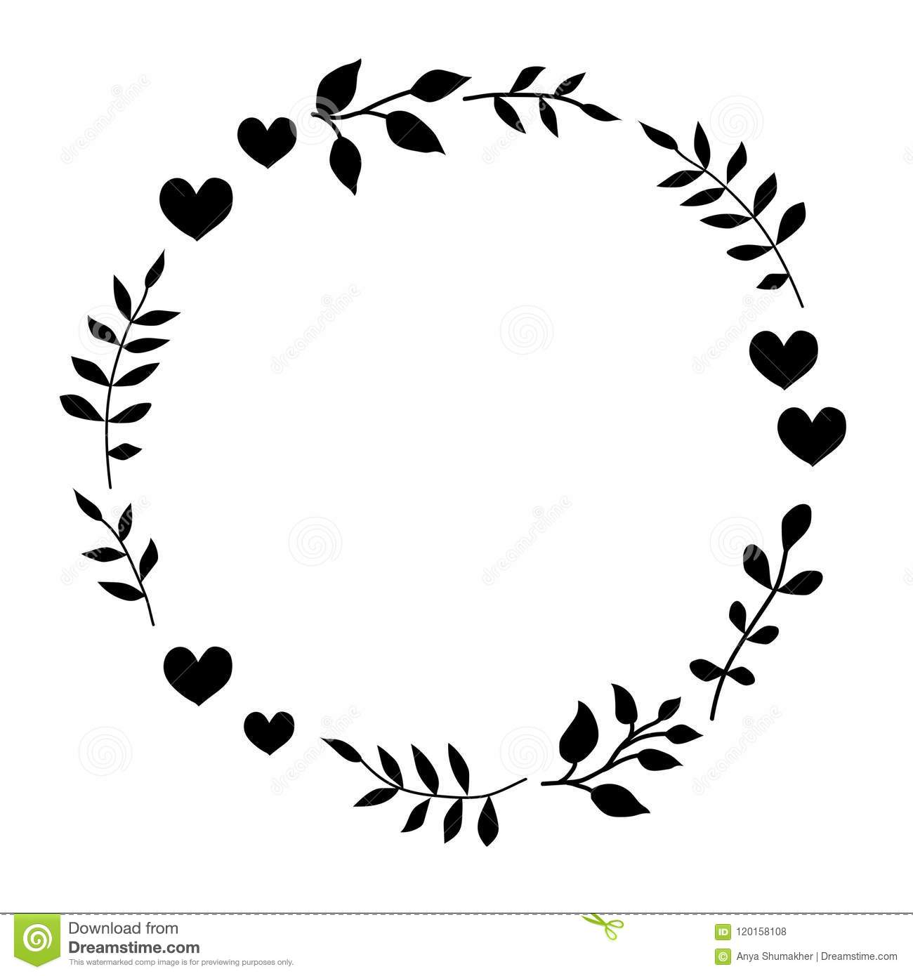 Doodle Monochrome Heart And Leaf Circle Frame On A Black Background.