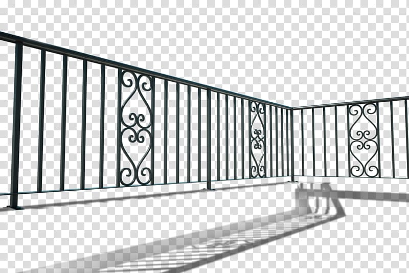 Black metal fence, Handrail Wrought iron Balcony Iron.