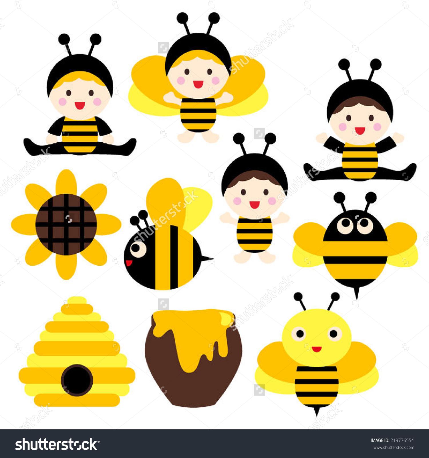 Cute Babies Bee Costumes Black Yellow Stock Vector 219776554.