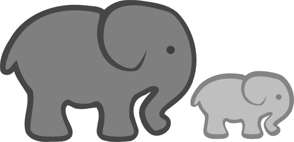 Elephant mom and baby clipart yellow and gray.