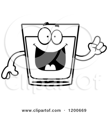 Cartoon of a Black and White Sick Shot Glass Mascot.