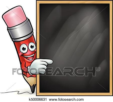 Cartoon Pencil and School Blackboard Clipart.