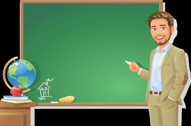 Teacher at Blackboard.