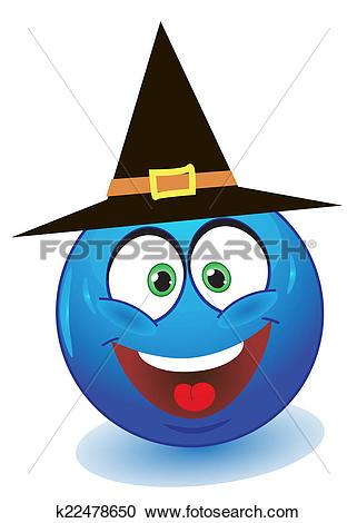 Stock Illustrations of Blue smiley in black cap k22478650.