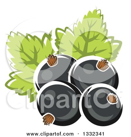 Clipart of a Cartoon Black Currant Berry.