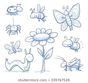 Set of cute little cartoon insects and small animals: Bugs.
