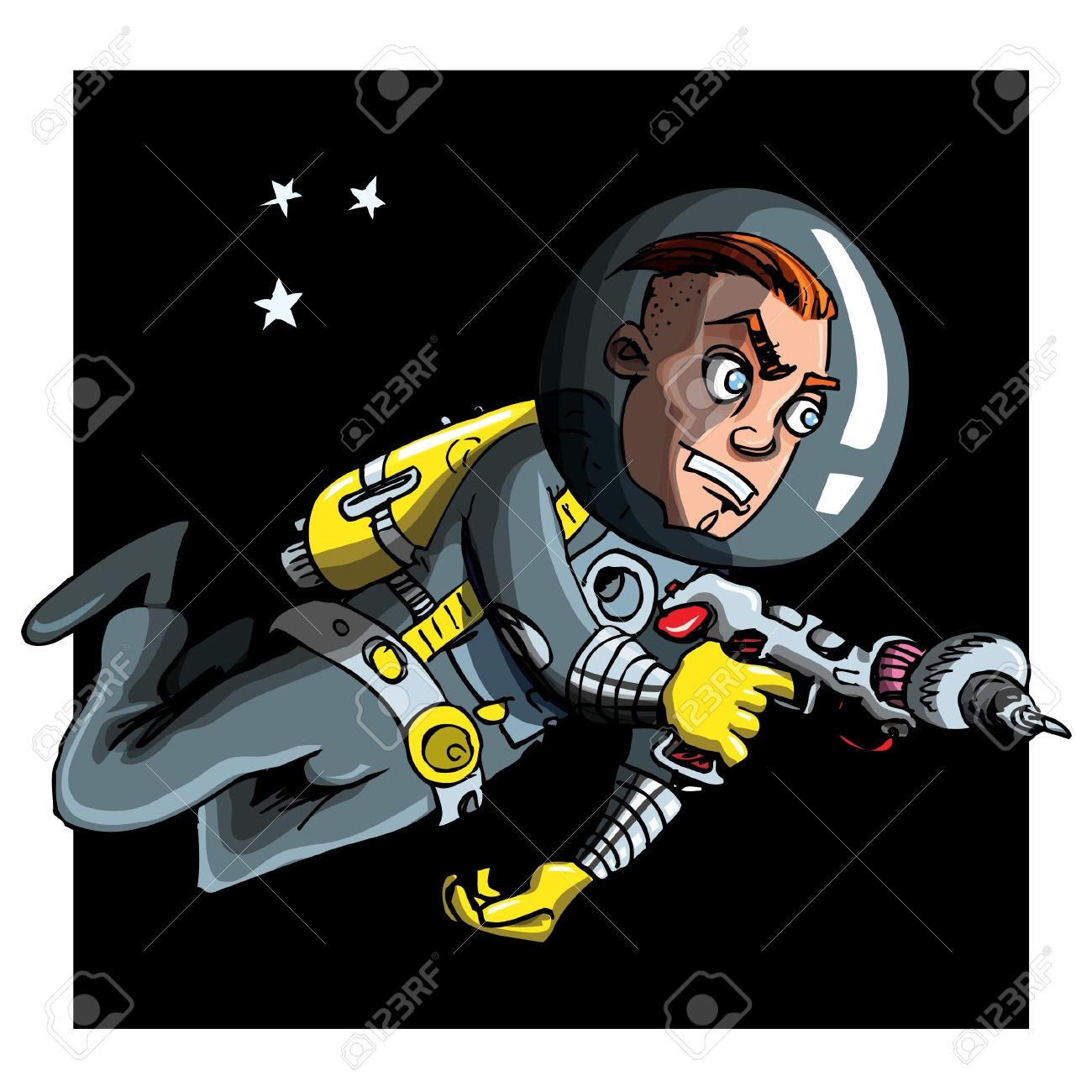 Cartoon Astronaout In A Space Suit. Blackness And Stars Behind.