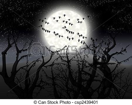 Clipart of night wood.
