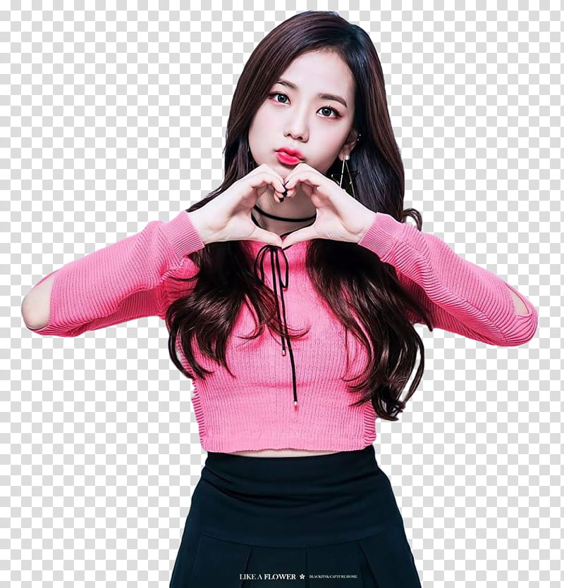 JiSoo BLACKPINK, woman wearing pink sweater illustration.