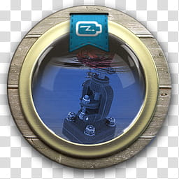 Sphere the new variation, black microscope in porthole icon.