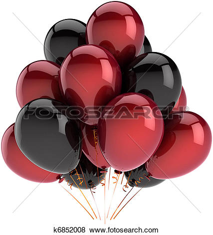 Drawing of red and black balloons k2659893.