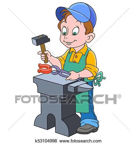 Cartoon boy blacksmith Clip Art.