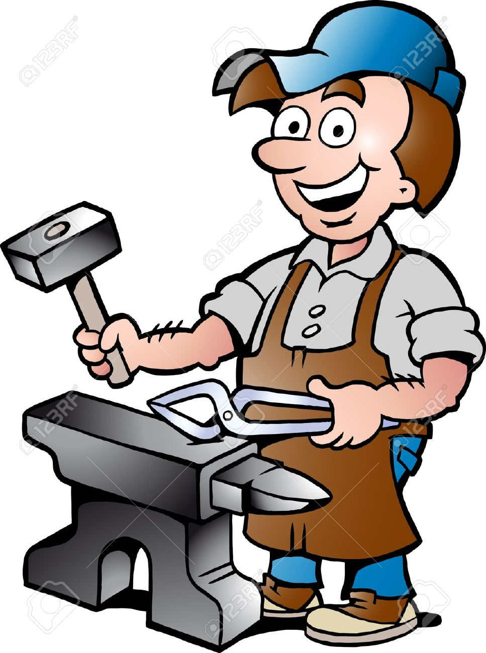Blacksmiths at work clipart.