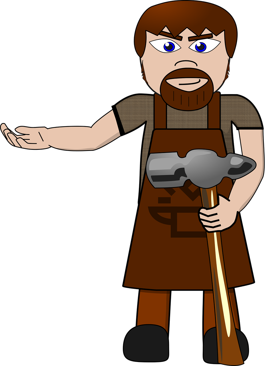 Blacksmith Man Hammer Cartoon PNG.