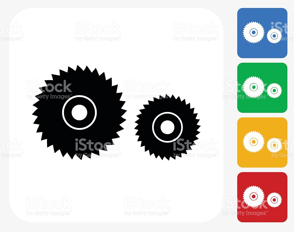 Electric Saw Blade Icon Flat Graphic Design stock vector art.