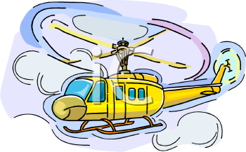 Cartoon of a Helicopter with It's Blades Turning in the Air.