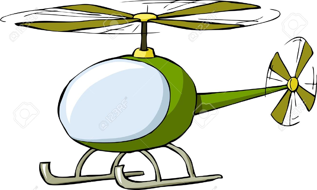 Helicopter On A White Background, Vector Illustration Royalty Free.